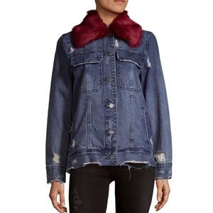 Blank NYC Faux fur lined collar destructed denim